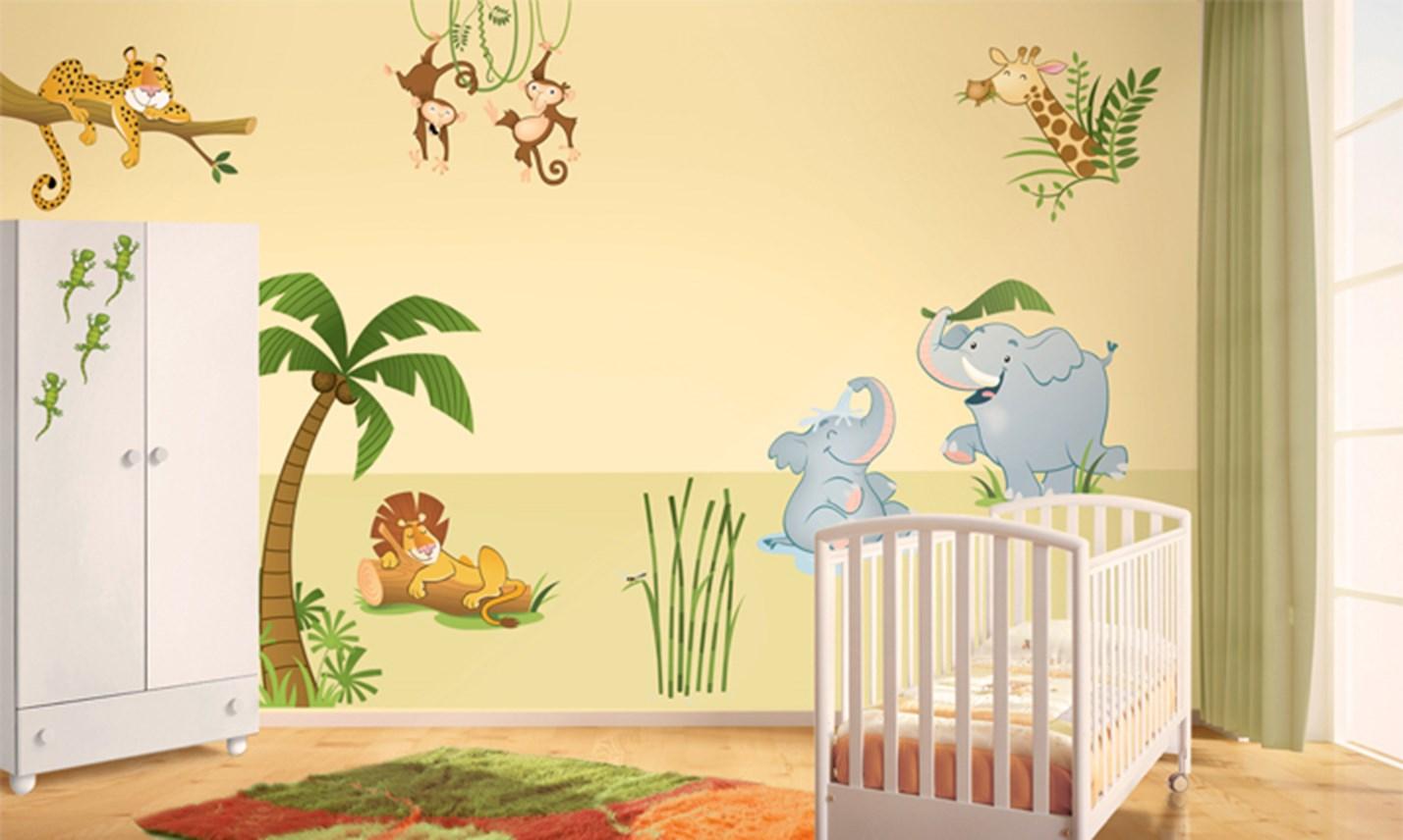Stickers murali bambini cameretta nella giungla leostickers - Adesivi murali per camerette ...